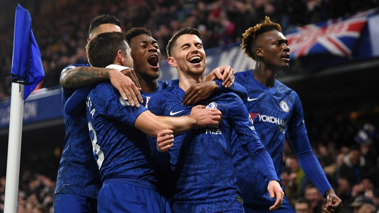 Jorginho celebrates with his Chelsea teammates - can they get over the line?