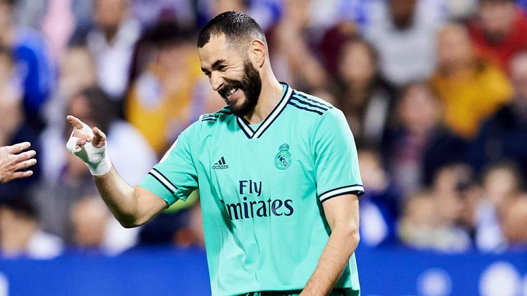 Karim Benzema celebrates his goal as Real Madrid progressed to the quarters