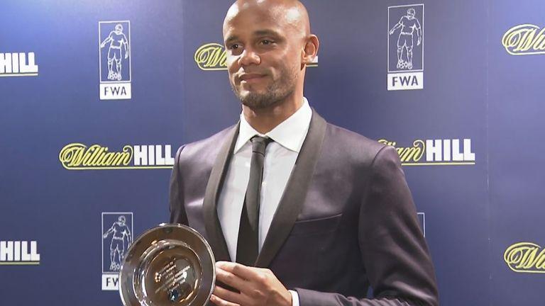 Kompany was honoured at the Football Writers' Association tribute night
