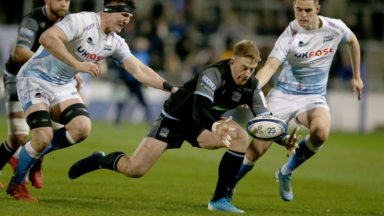 Kyle Steyn attempts to regather for Glasgow