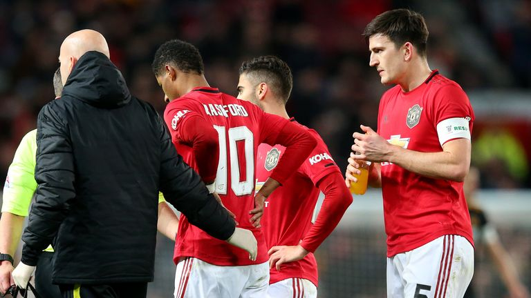 Marcus Rashford was forced off with a back injury shortly after coming on