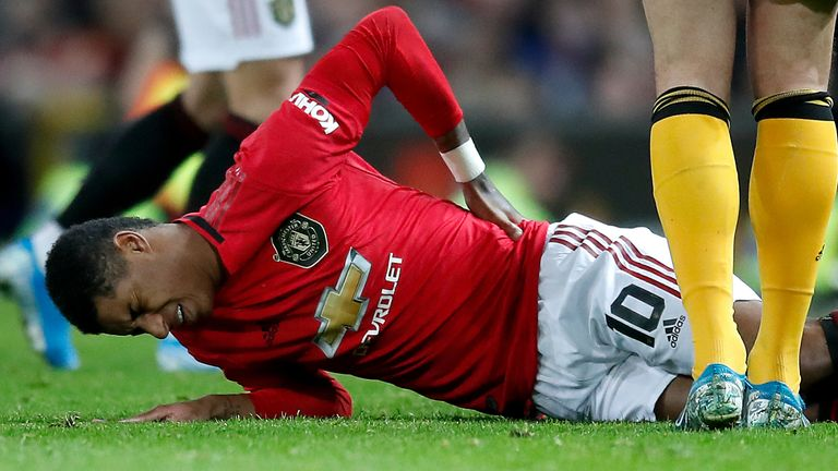Rashford injured his back after coming on as a substitute against Wolves