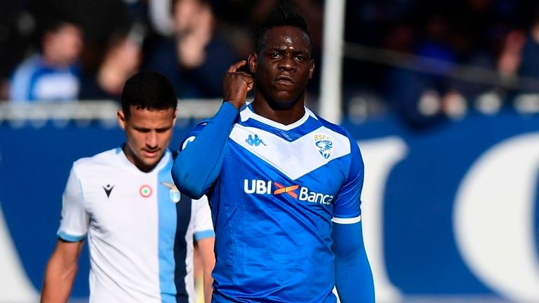 Mario Balotelli scored for Brescia and was then targetted by Lazio fans