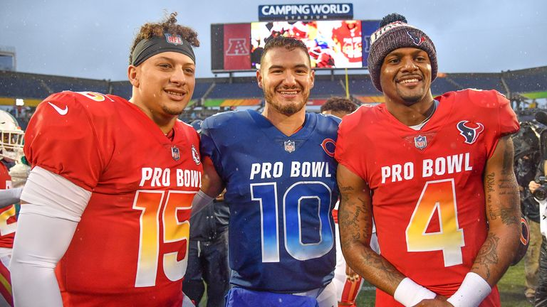 Ryan Pace selected Mitch Turbisky (centre) ahead of Patrick Mahomes (left) and Deshaun Watson (right) in the 2017 NFL draft