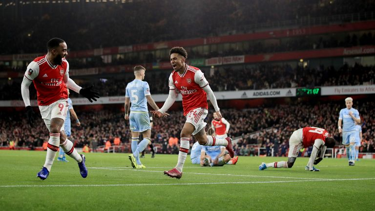 Nelson celebrates scoring in Arsenal's 1-0 win over Leeds in the FA Cup third round