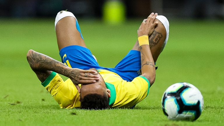 Neymar suffered injuries twice while on international duty for Brazil in 2019