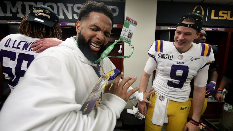 Former LSU Tiger Odell Beckham celebrated with the team after they won the national championship game