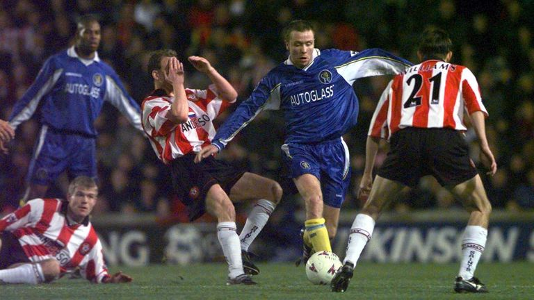 Hughes in action for Chelsea against Southampton
