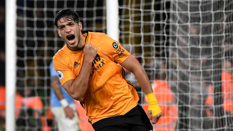 Jimenez celebrates scoring for Wolves against Manchester City