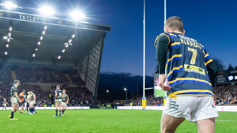 Rob Burrrow runs onto Headingley for the final time as a player