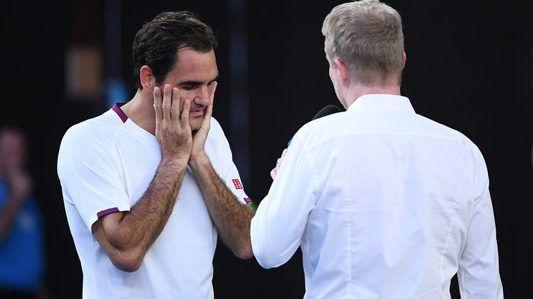 Federer spoke of his relief at victory in his on-court interview with two-time former champion Jim Courier
