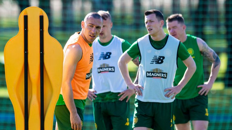 Celtic's Scott Brown and Callum McGregor during a training session in Dubai