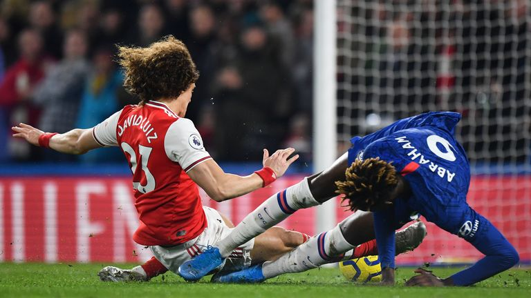 David Luiz brings down Tammy Abraham and receives a straight red