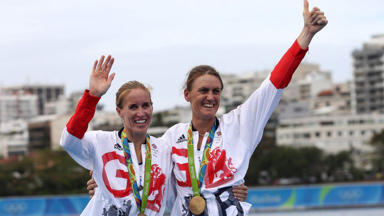 Helen Glover (L) and Heather Stanning won gold in the coxless pair at Rio 2016