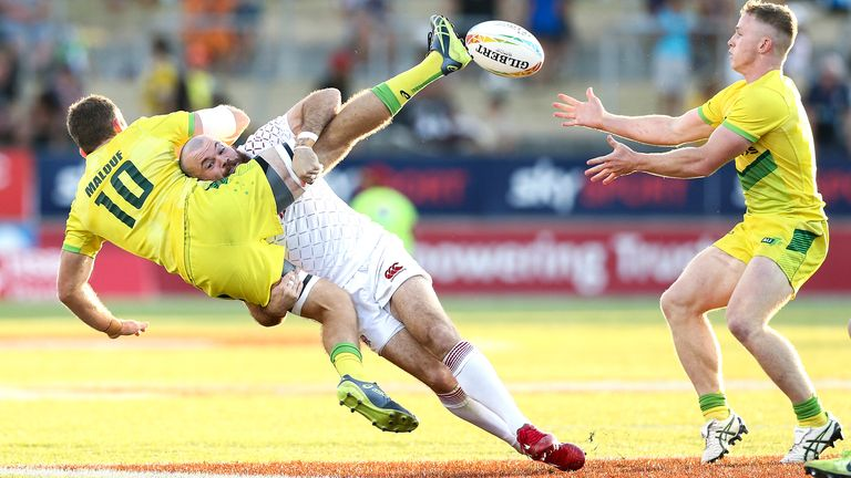 Tom Bowen makes a tackle for England during their bronze final defeat to Australia