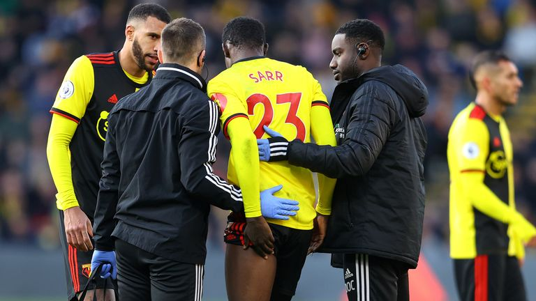Ismaila Sarr limped out of Watford's scoreless draw with Tottenham