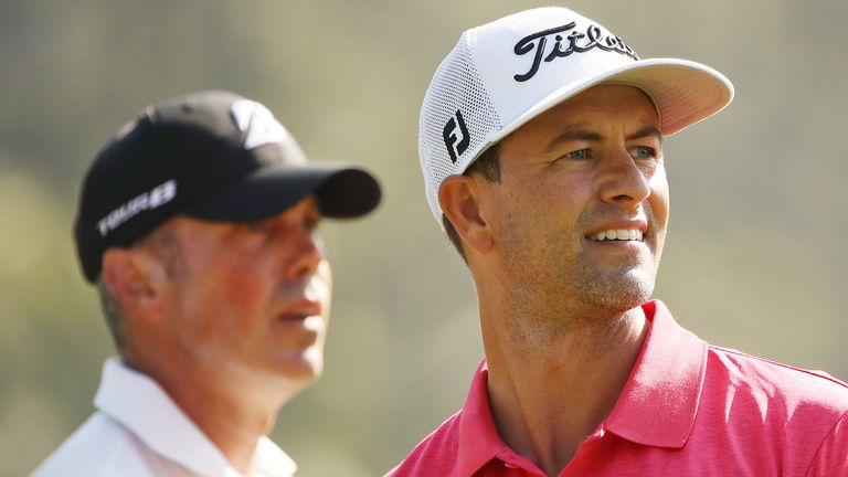 Scott played alongside Kuchar (left) and McIlroy during the final day