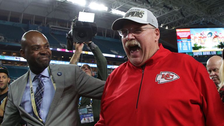 Andy Reid was jubilant after winning his first Super Bowl in 21 seasons as a head coach