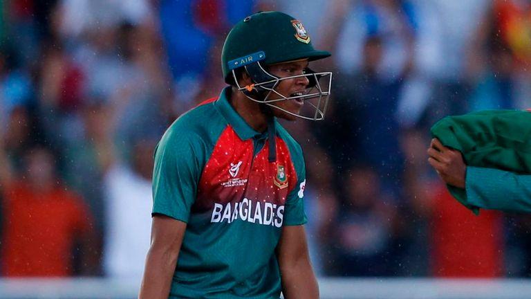 A brawl occurred after Rakibul Hasan hit the winning runs for Bangladesh