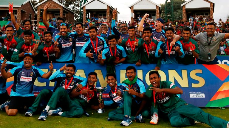 Bangladesh celebrate winning the U19 World Cup final for the first time in their history