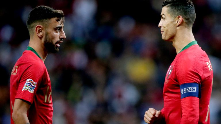 Portugal team-mates Bruno Fernandes and Cristiano Ronaldo both joined Manchester United from Sporting Lisbon