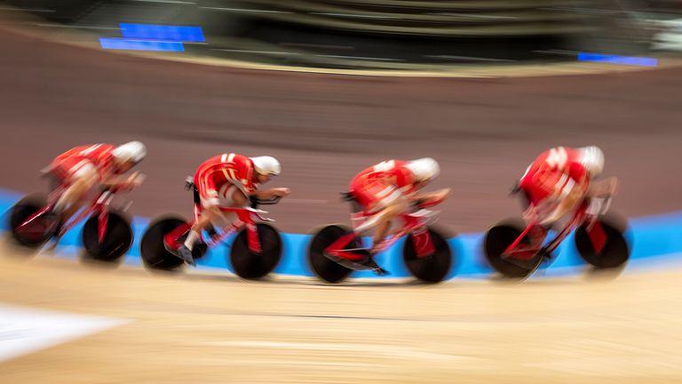 Team Denmark's Lasse Norman Hansen, Julius Johansen, Frederik Rodenberg Madsen and Rasmus Pedersen set a new world record in the Men's Team Pursuit