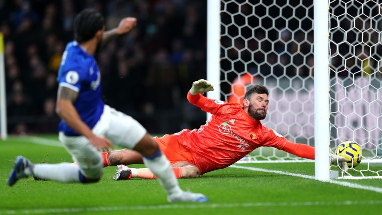 Walcott fires his shot beyond Ben Foster to lift Everton up to ninth in the table