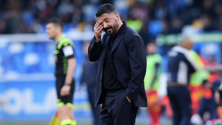 Napoli boss Rino Gattuso criticised VAR after his side were not awarded a penalty for a foul on Arkadiusz Milik during their game against Lecce on Sunday