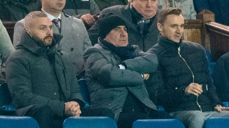 Romania great Gheorghe Hagi (centre) was at Ibrox to see his son Ianis star for Rangers