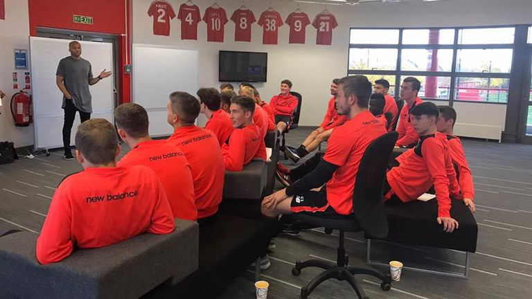 Kevin George speaks to Under-23 players at Liverpool