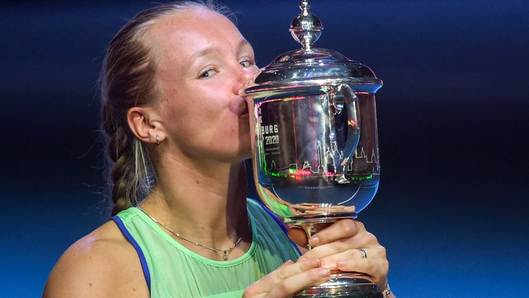 Kiki Bertens with the St Petersburg Ladies Trophy back in February
