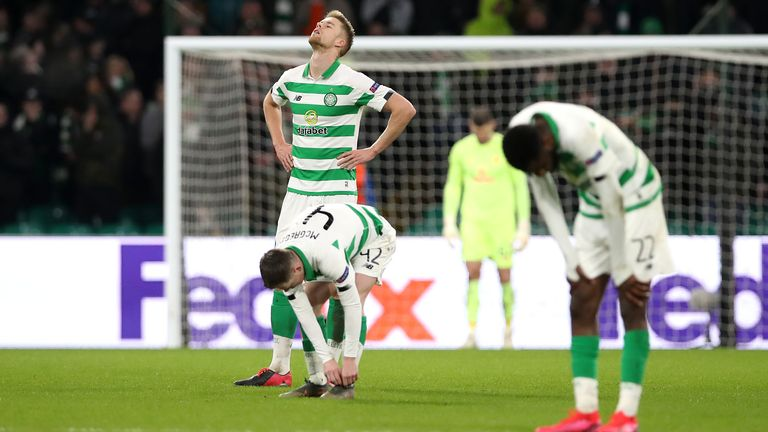 Kristoffer Ajer reacts after Celtic conceded the second goal against Copenhagen