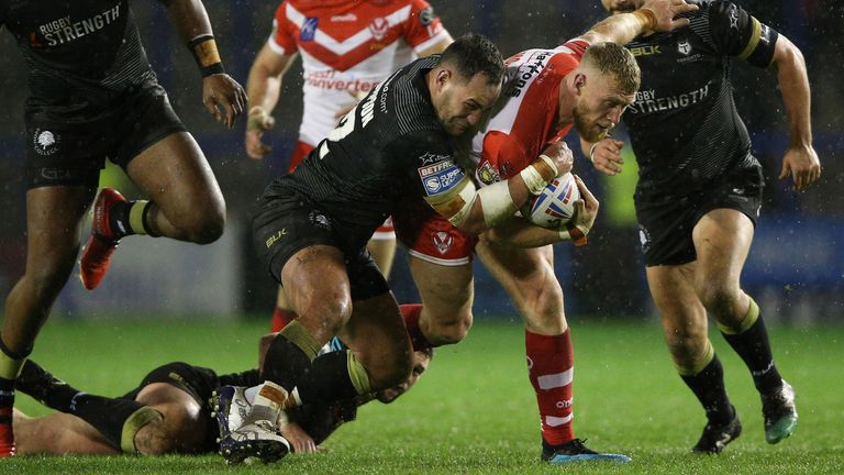 Luke Thompson on the charge for St Helens against Toronto Wolfpack earlier this season