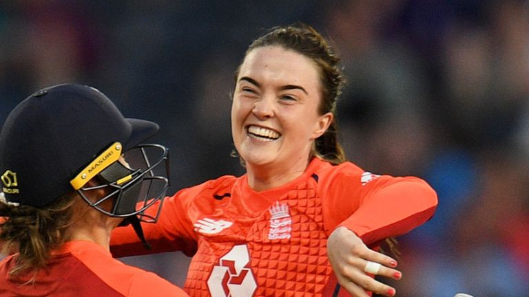 Mady Villiers celebrates his first international wicket on her England debut against Australia