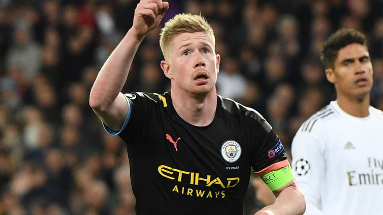 Manchester City's Kevin De Bruyne celebrates converting his penalty against Real Madrid