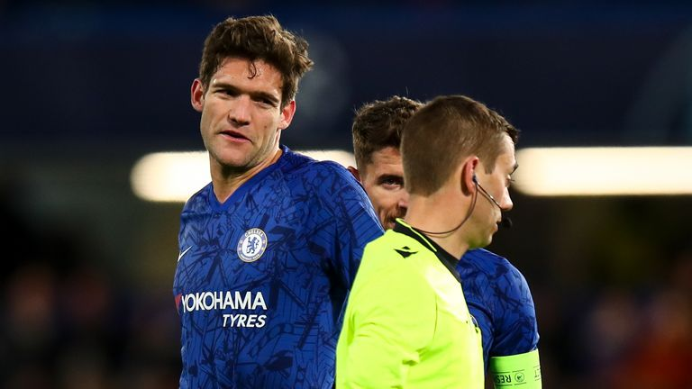 Referee Clement Turpin sent off Marcos Alonso late on