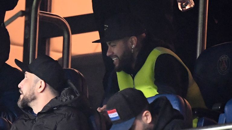 Neymar watched the 4-4 draw against Amiens from the stands at the weekend