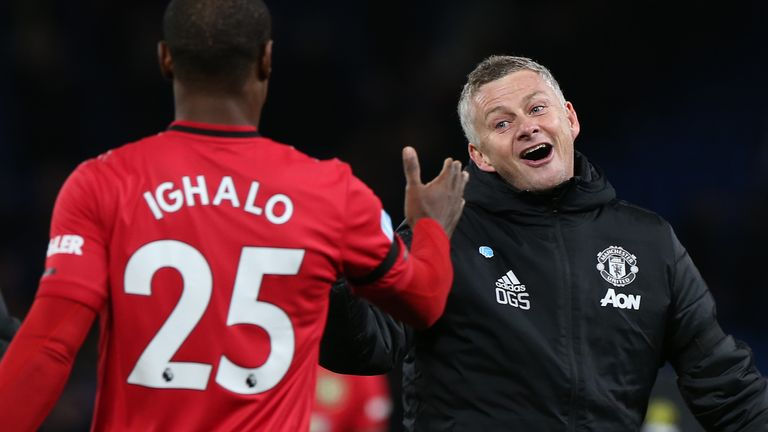 Ole Gunnar Solskjaer celebrates Man Utd's 2-0 win over Chelsea with Odion Ighalo
