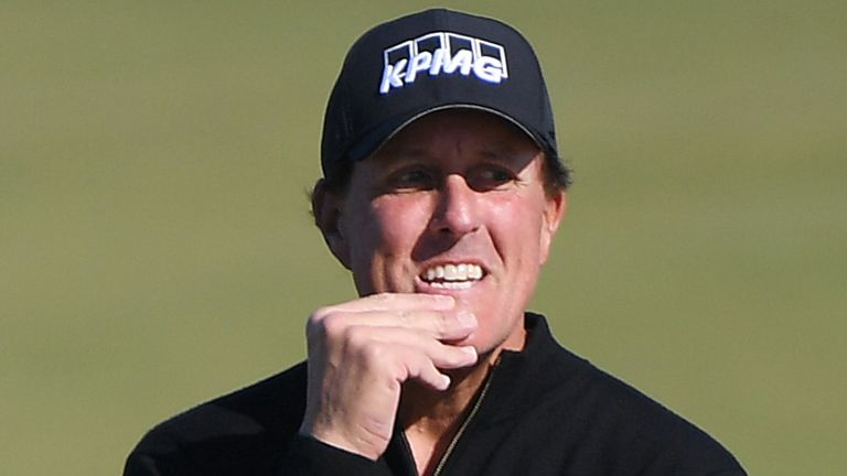 Is Mickelson on the couch or in the gym during the break?