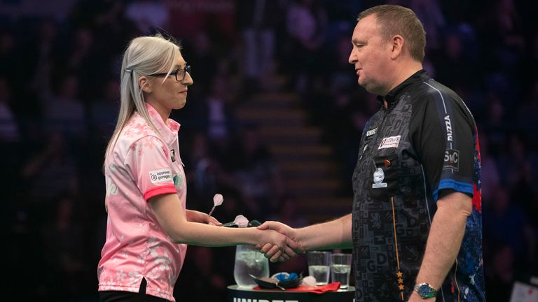 Sherrock also got her chance in the Premier League where she drew with Glen Durrant