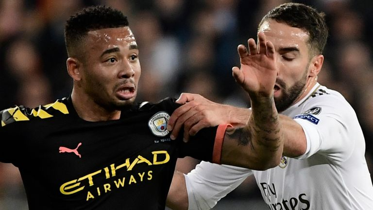 Gabriel Jesus vies for the ball with Dani Caravajal