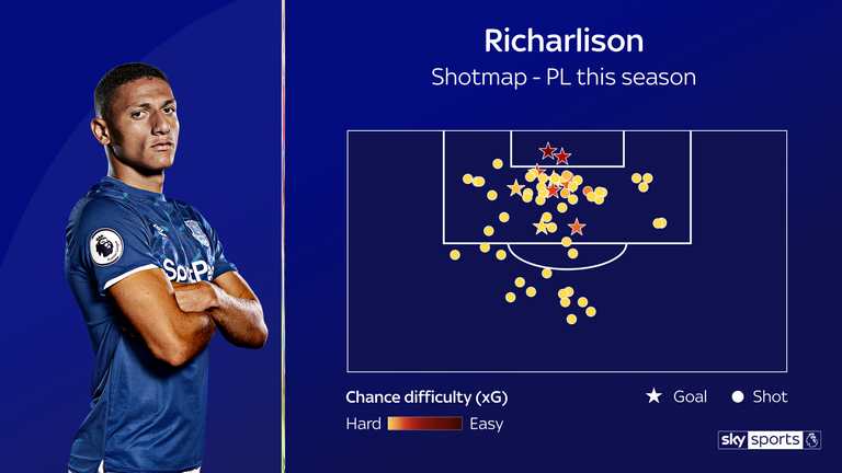 Richarlison has nine Premier League goals this season for Everton