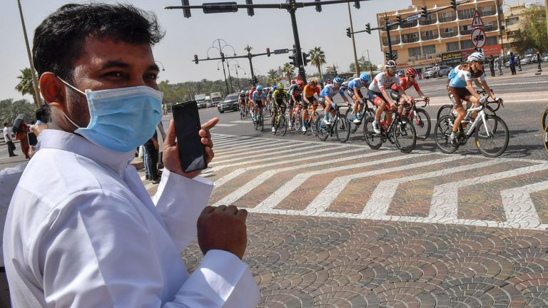 Cycling fans were protecting themselves during the Tour races in Dubai this week