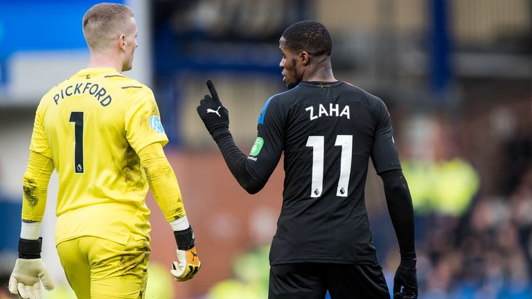 Wilfried Zaha thought he should have had a penalty during Crystal Palace's 3-1 defeat at Everton