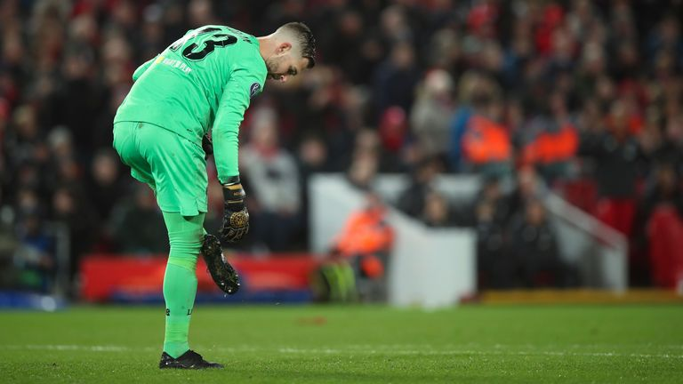 Adrian slipped as he attempted to save Atletico's first goal