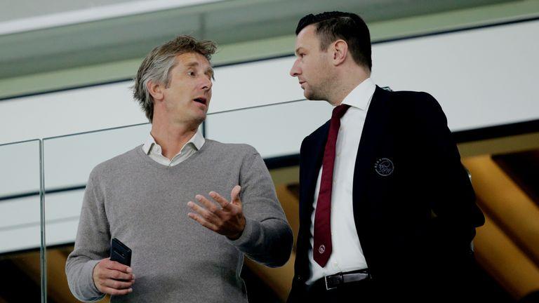 Ajax CEO Edwin van der Sar with commercial director Menno Geelen