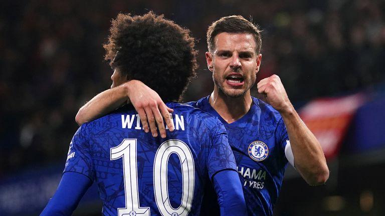 Willian and Cesar Azpilicueta celebrate Chelsea's opening goal