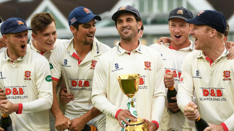 Essex captain Ryan ten Doeschate holds the 2019 County Championship trophy