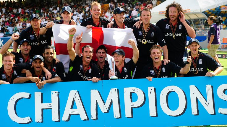 England's 15-man squad celebrate winning the 2010 World T20 in the Caribbean after beating Australia in the final