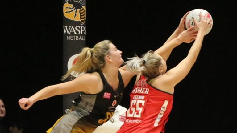 Fisher and Wasps' Fran Williams contesting for the ball in the circle